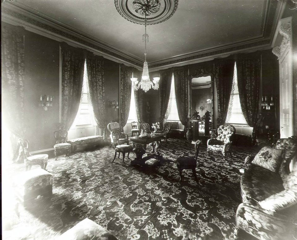 Drawing Room with chandeliers, fine carpets, mirrors, and furnishings, much of which were imported from France. Some of the images you see below are of this same room as it looks today.