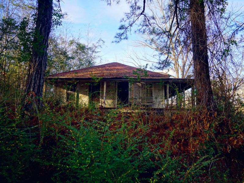 An empty home near the railroad tracks -
